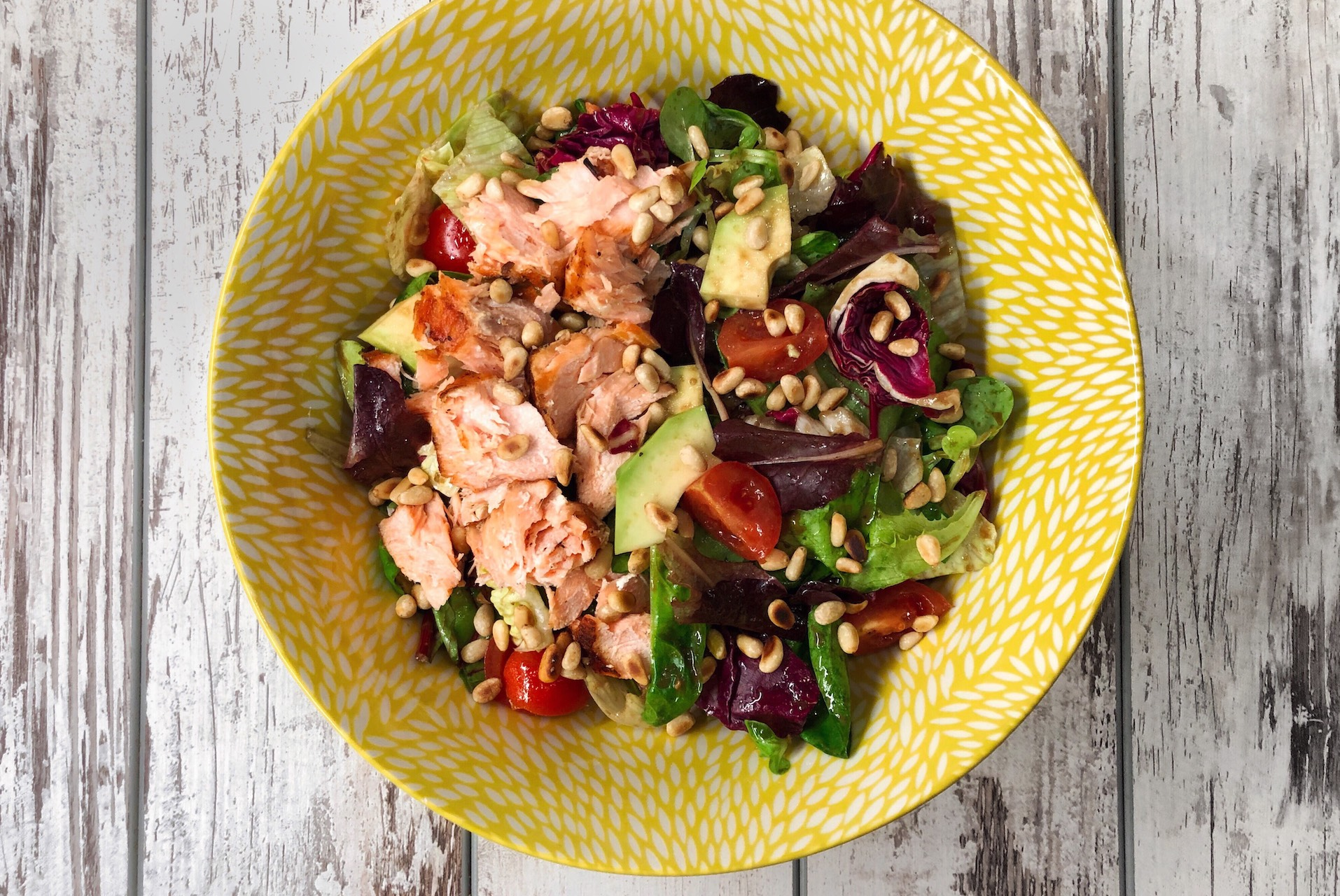 salmon salad with pine nuts